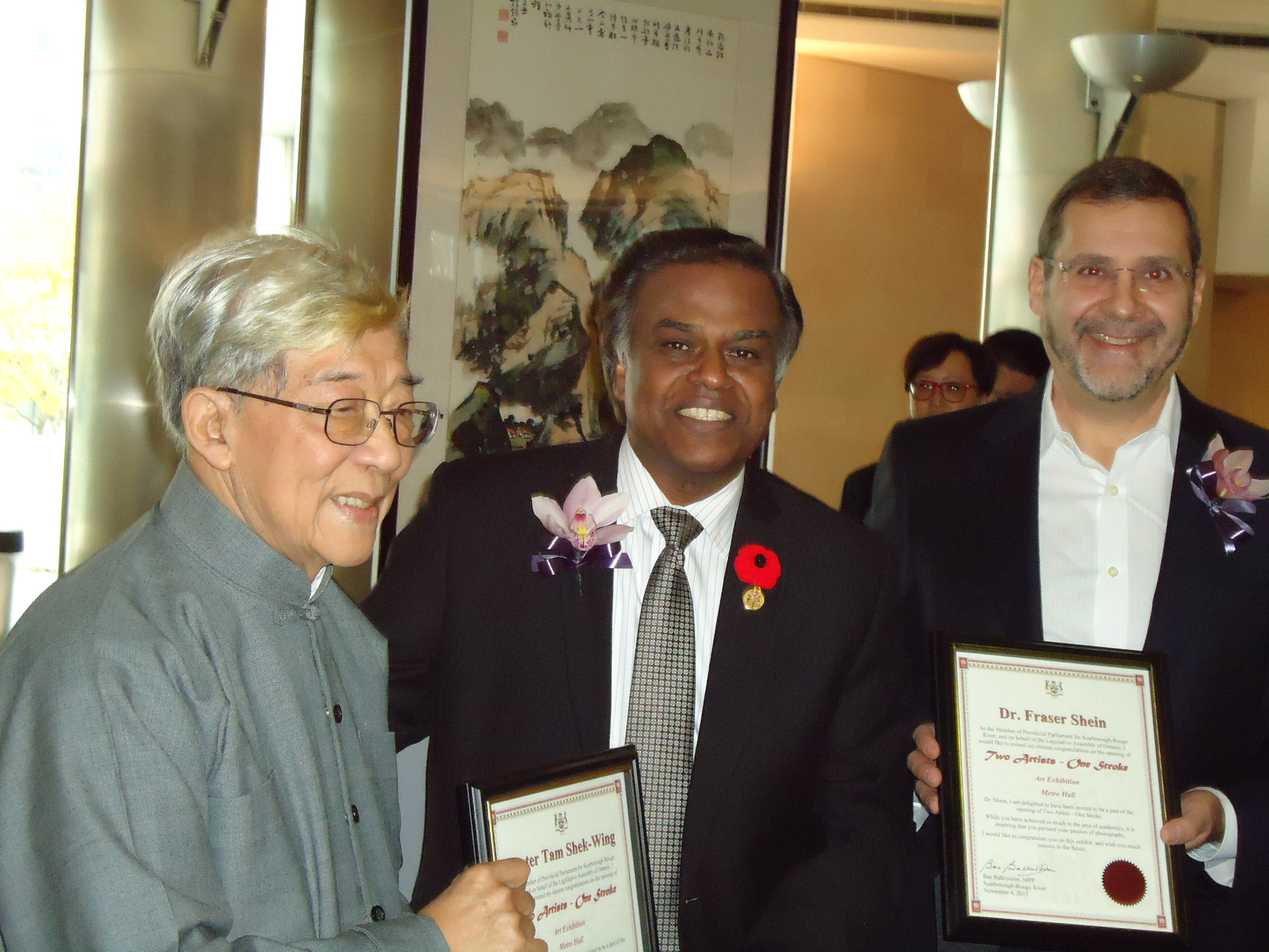 Tam and Shein, each received a certificate from Liberal MPP Bas Balkissoon.