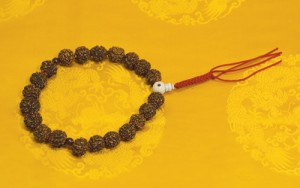 The beads granted to Master Tam by Dudjom Rinpoche. The beads are radraksha beads. Dudjom Rinpoche used it exclusively for the Vajrakilaya practice, which represents the lineage.